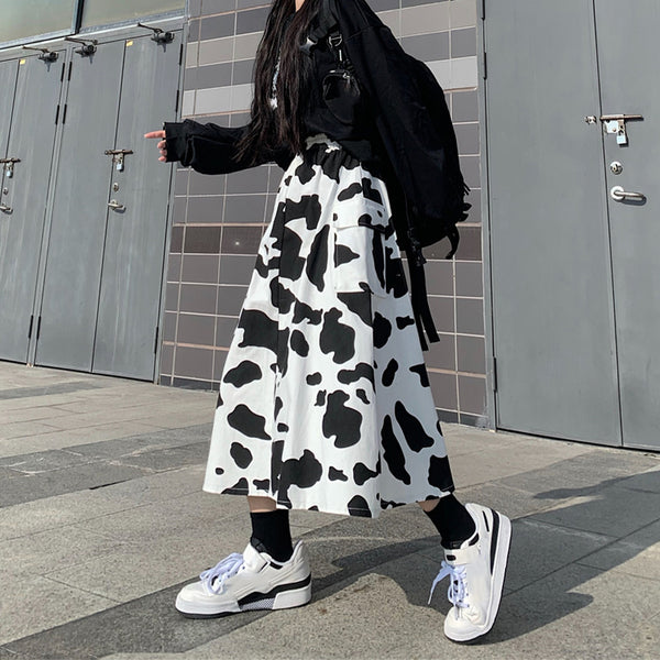 Harajuku Cow High Waist Dress yc23760