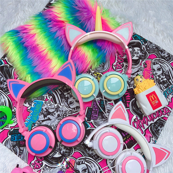 Harajuku Unicorn & Cat Headphones YC24061