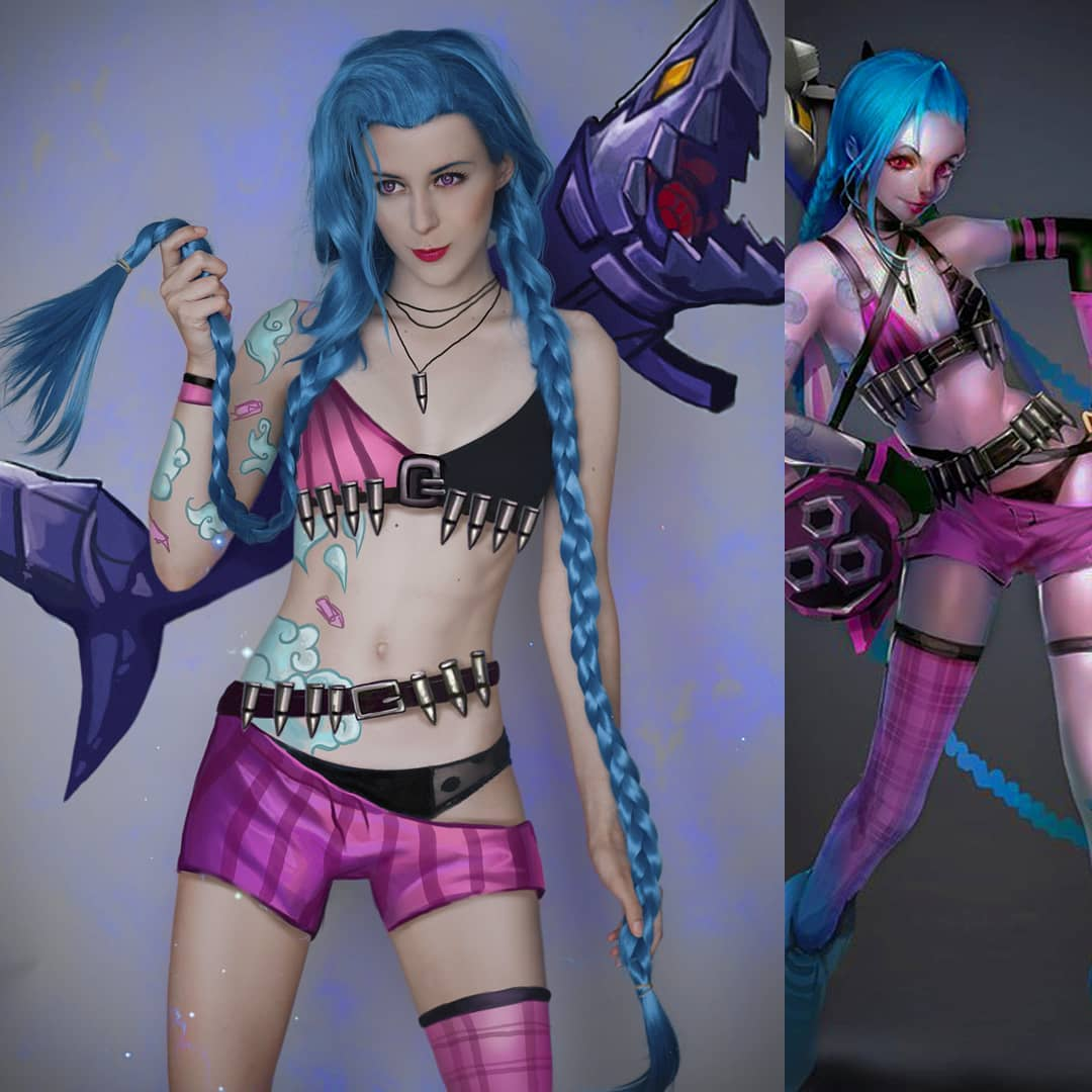 League of Legends Jinx cos wig yc21174