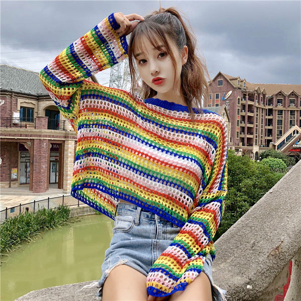 Rainbow Striped Top + Vest yc21078