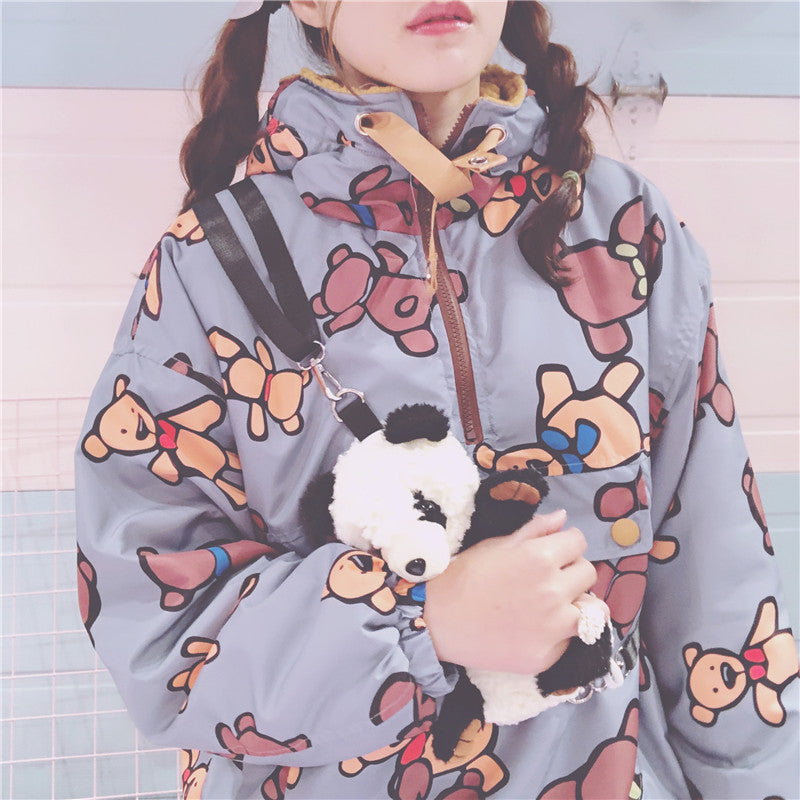 Cute Bear Wool Hood Sweatshirt yc20982