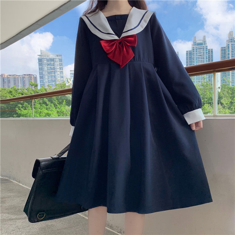 Japanese navy collar dress YC23988