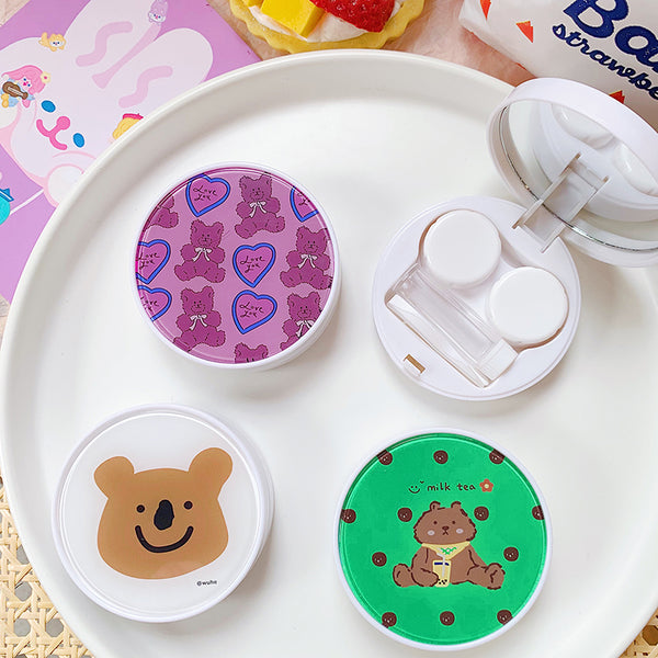 Cute style bear pattern contact lens case yc23316