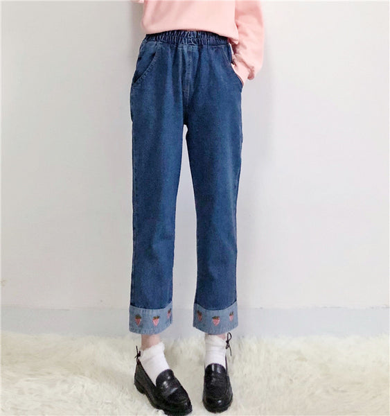 Cute strawberry jeans yc21066
