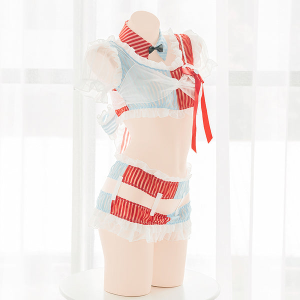 Sweet red blue striped underwear set yc23599