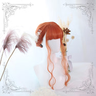 Lolita orange long curly wigs yc20747