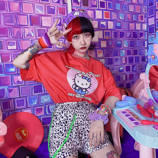 Harajuku Hello Kitty Summer Print T-shirt yc23434