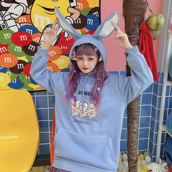 Harajuku cartoon rabbit hooded sweater yc23816