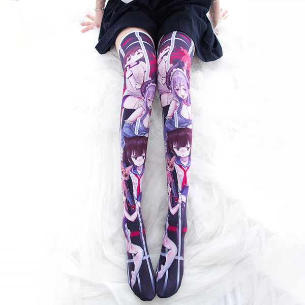 Anime print stockings  YC21911