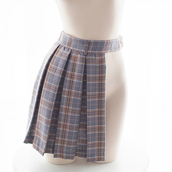 Lolita plaid side slit skirt    YC21458