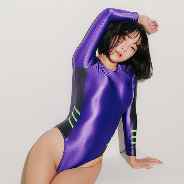 Cosplay sexy high fork long sleeve swimsuit     YC21405