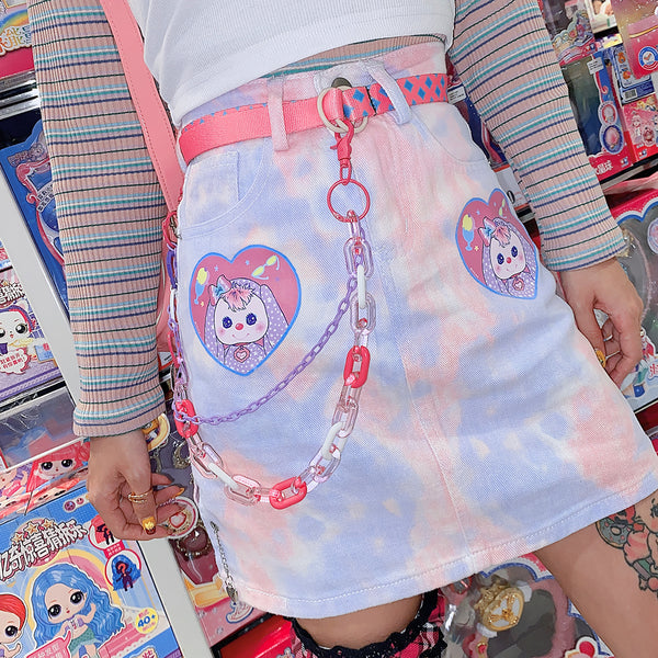Harajuku Love Puppy Skirt yc23772