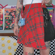 Punk plaid irregular hip hop skirt yc22194