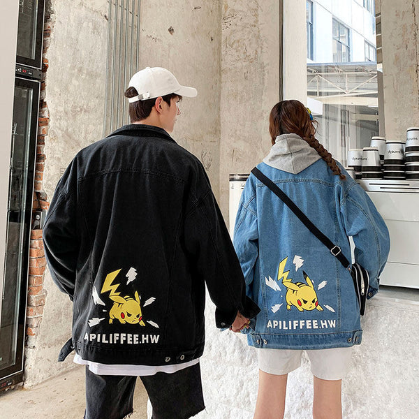 Autumn Pikachu Print Denim Couple Jacket YC22126