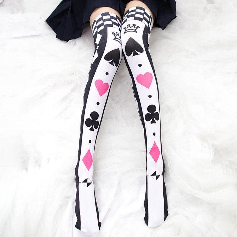 Lolita playing card printed knee socks (one pair)  YC21527