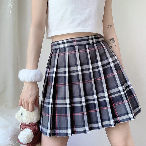 Gray pink plaid high waist pleated skirt YC24208