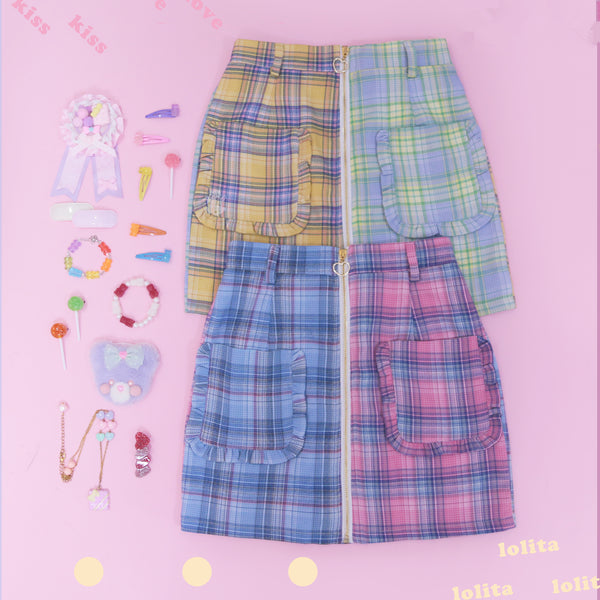 Love Mixed Color Plaid Skirt yc22745