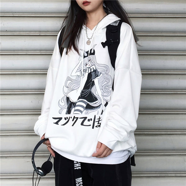 Black Harajuku Anime Girl Sweatshirt yc23733
