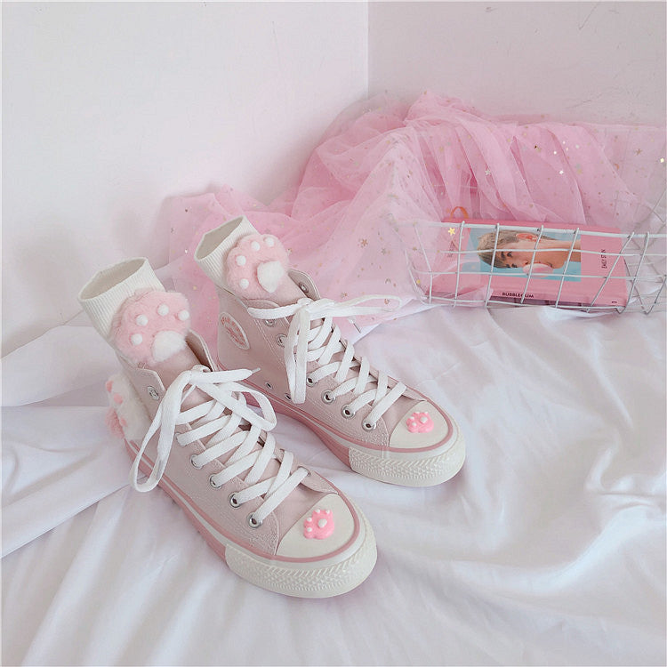 Pink cat claw canvas shoes yc22358