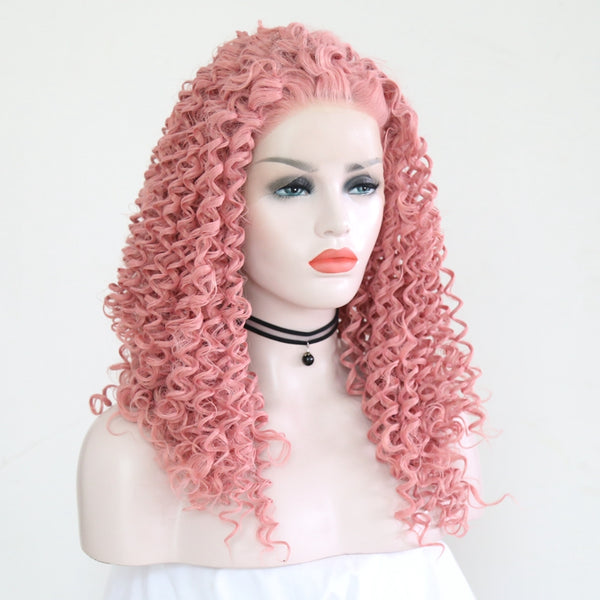 Pink lace wave hair wig yc22413