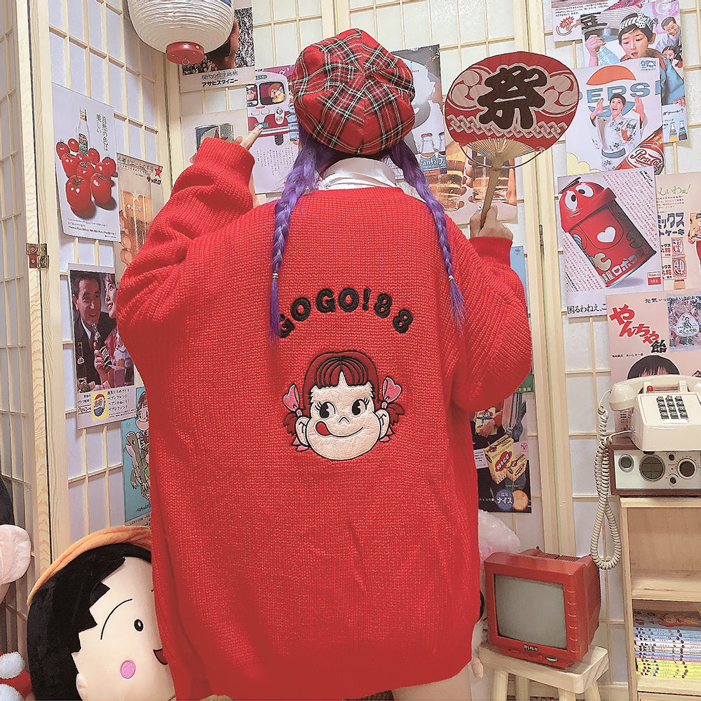 Cute cartoon girl knitted sweater coat yc22536