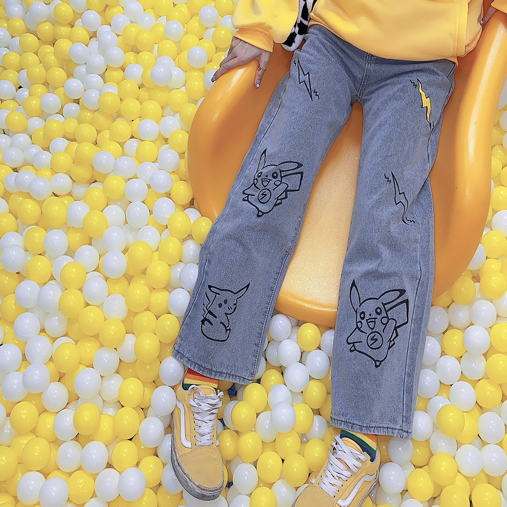 Cute cartoon pikachu jeans  yc22393