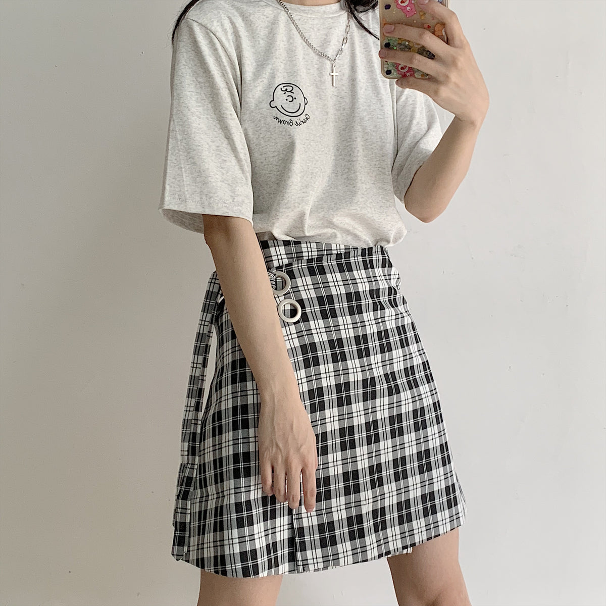 Black and white plaid button skirt  YC21558