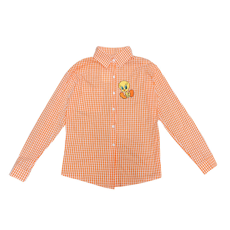 Orange long sleeve plaid shirt YC21961