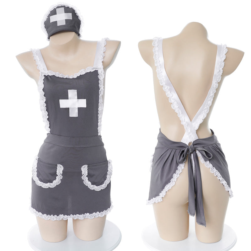 Crossed backless sexy nurse apron    YC21497