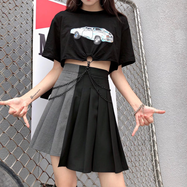 Black gray stitching pleated skirt yc22255