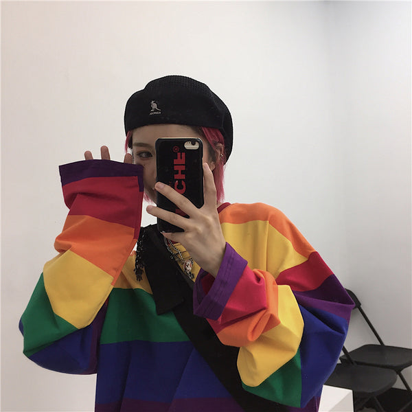 Rainbow Striped Long Sleeve T-Shirt yc22409