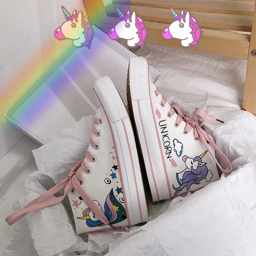 Unicorn print hand-painted shoes YC21866