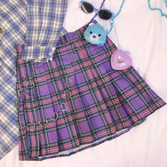 Purple plaid pleated skirt YC21878