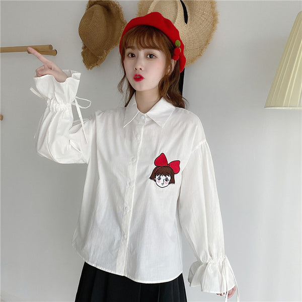 Japanese cartoon girl shirt + pleated skirt yc22564