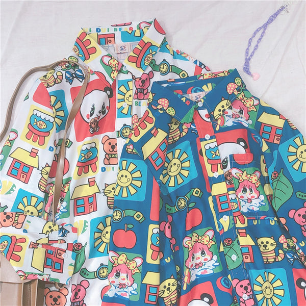 Cartoon printed long sleeve shirt YC21918