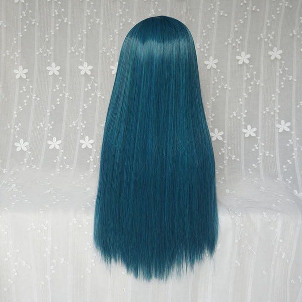 Blue green long straight hair wig yc22615