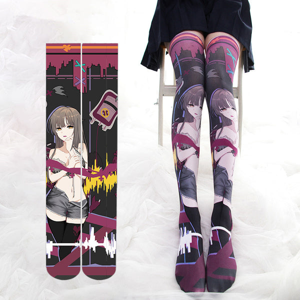 Cartoon printed knee socks YC21959