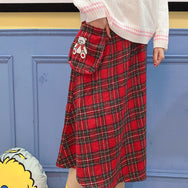 Bear plaid skirt yc22480