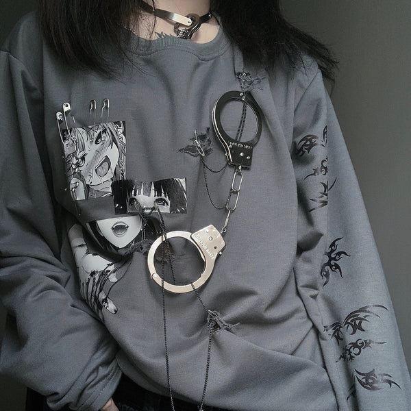 Punk handcuffs chain sweater yc22208