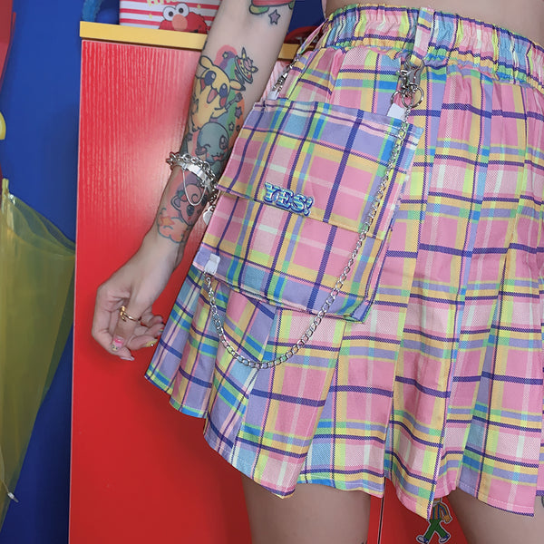 Gradient plaid pleated skirt YC21989