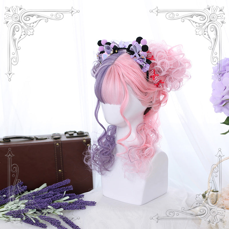 Pink purple curly wig yc22452