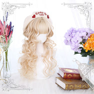Lolita yellow brown curly wig yc22596