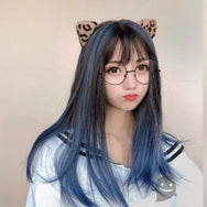 Black blue wig YC22168