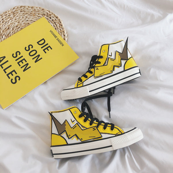 Graffiti Pikachu canvas shoes yc22311