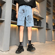 Couple cartoon printed denim shorts YC21796