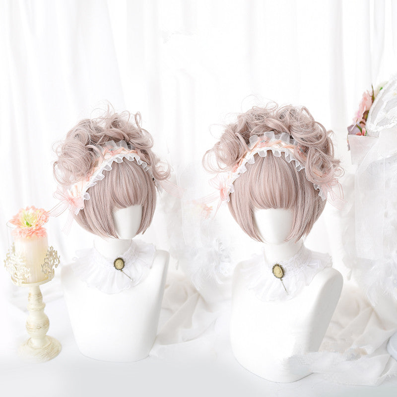 Harajuku Lolita pink cos wig + small hair bag yc20842