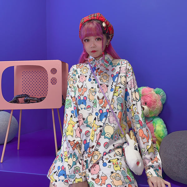 Harajuku Cartoon Long Sleeve Shirt YC21944