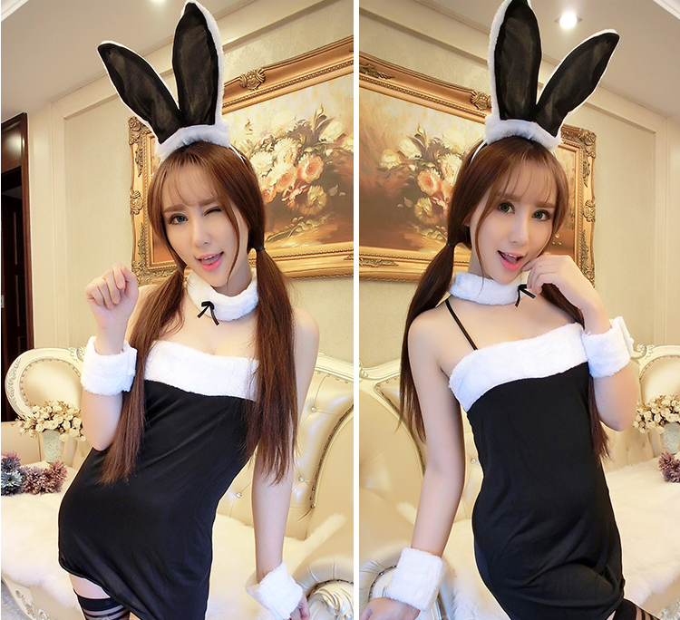 Black/Pink Cute Bunny Cosplay Costume YC20070