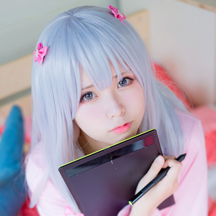 Cosplay gray-pink gradient wig YC20473