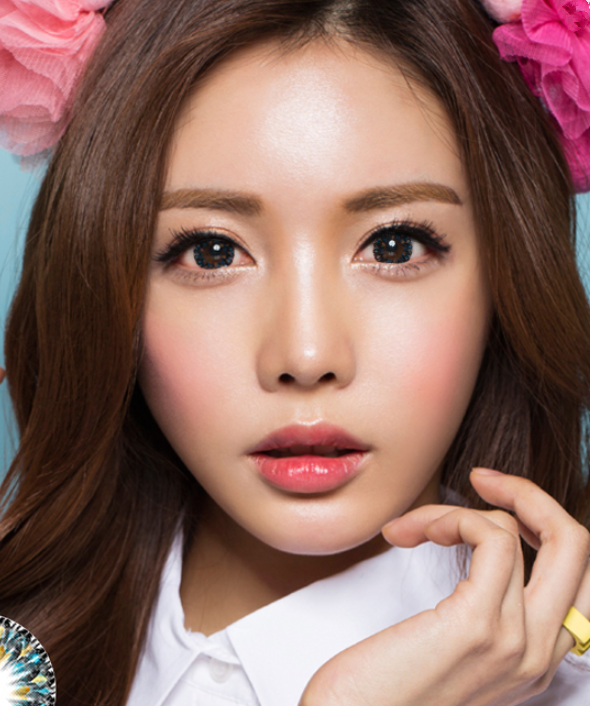 Flower Blue Contact Lens (TWO PIECE)  YC21236